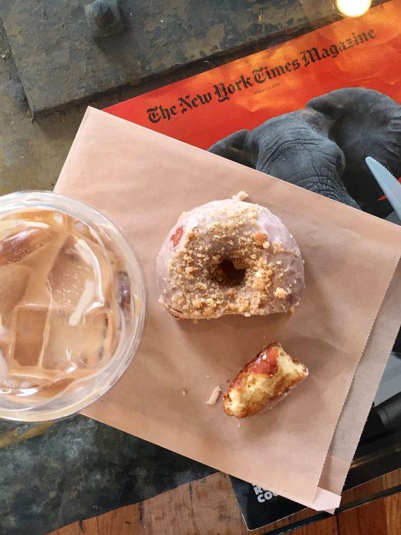 Amelie's coffee + donut